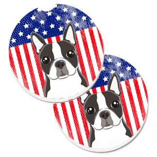 Boston Terrier Car Coasters - USA (Set of 2)