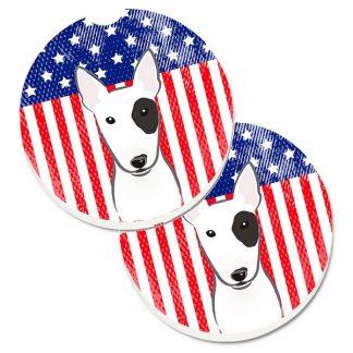 Bull Terrier Car Coasters - USA (Set of 2)