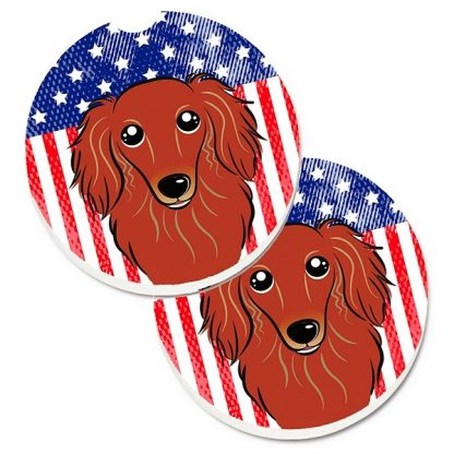 Longhaired Dachshund Car Coasters (Red) - USA (Set of 2)