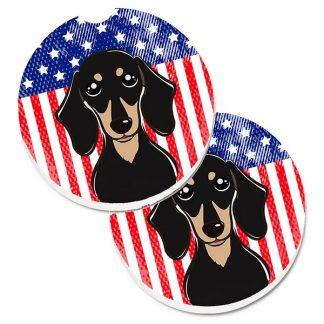 Dachshund Car Coasters (Black Tan) - USA (Set of 2)
