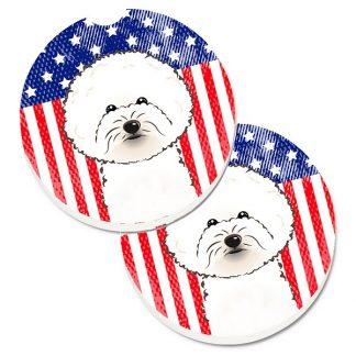 Bichon Frise Car Coasters - USA (Set of 2)