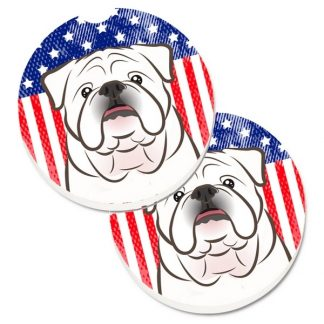 Bulldog Car Coasters (White) - USA (Set of 2)