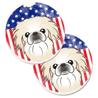 Pekingese Car Coasters - USA (Set of 2)