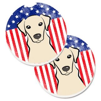 Yellow Lab Car Coasters - USA (Set of 2)
