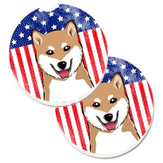 Shiba Inu Car Coasters - USA (Set of 2)