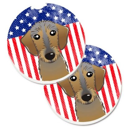 Wirehaired Dachshund Car Coasters - USA (Set of 2)