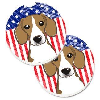 Beagle Car Coasters - USA (Set of 2)