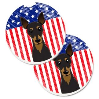 Miniature Pinscher Car Coasters - USA (Set of 2)