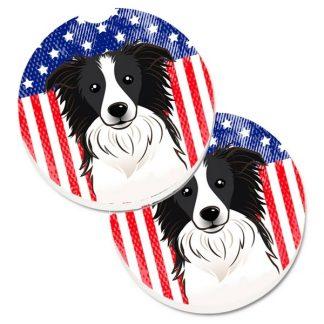 Border Collie Car Coasters - USA (Set of 2)