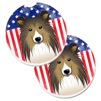 Shetland Sheepdog Car Coasters - USA (Set of 2)