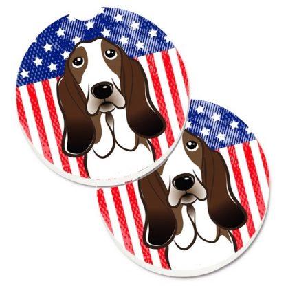 Basset Hound Car Coasters - USA (Set of 2)