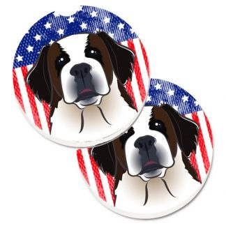Saint Bernard Car Coasters - USA (Set of 2)