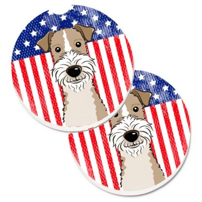 Wire Fox Terrier Car Coasters - USA (Set of 2)