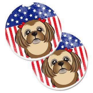 Shih Tzu Car Coasters (Brown) - USA (Set of 2)