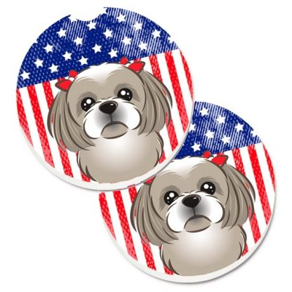 Shih Tzu Car Coasters (Grey) - USA (Set of 2)