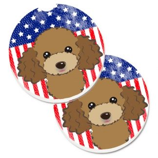Chocolate Poodle Car Coasters - USA (Set of 2)
