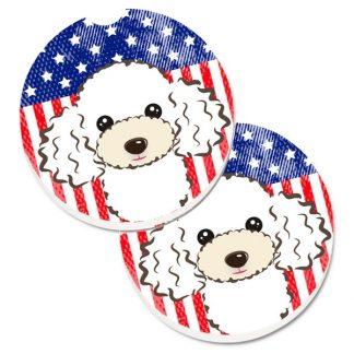 White Poodle Car Coasters - USA (Set of 2)