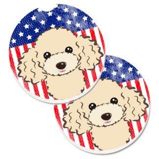 Apricot Poodle Car Coasters - USA (Set of 2)