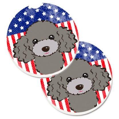 Silver Poodle Car Coasters - USA (Set of 2)