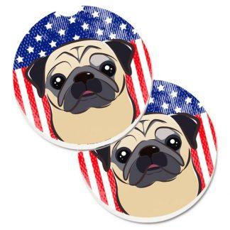 Pug Car Coasters - USA (Set of 2)