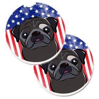 Pug Car Coasters (Black) - USA (Set of 2)