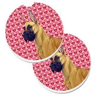 Great Dane Car Coasters - Hearts (Set of 2)
