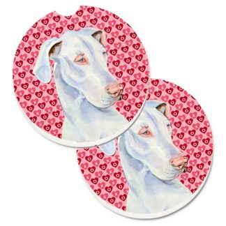 Great Dane Car Coasters (White) - Hearts (Set of 2)