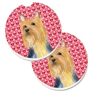 Silky Terrier Car Coasters - Hearts (Set of 2)