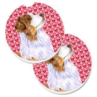 Red Merle Australian Shepherd Car Coasters - Hearts (Set of 2)