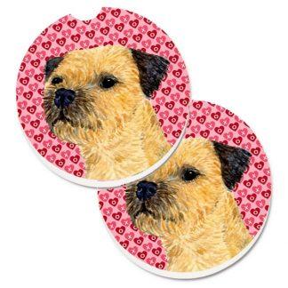 Border Terrier Car Coasters - Hearts (Set of 2)