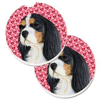 Tri Cavalier Spaniel Car Coasters - Hearts (Set of 2)