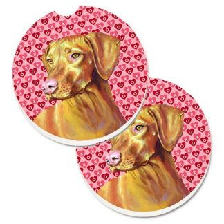 Vizsla Car Coasters - Hearts (Set of 2)