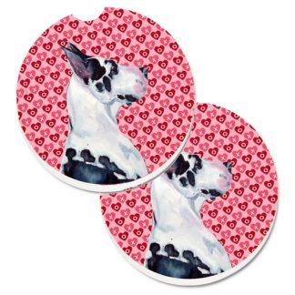 Great Dane Car Coasters (Harlequin) - Hearts (Set of 2)