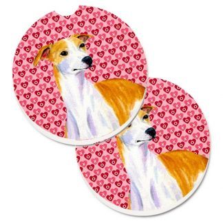 Whippet Car Coasters - Hearts (Set of 2)