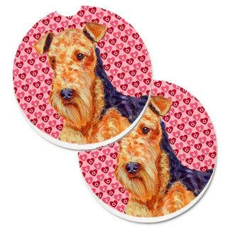 Airedale Terrier Car Coasters - Hearts (Set of 2)