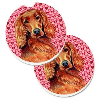 Irish Setter Car Coasters - Hearts (Set of 2)