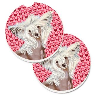 Chinese Crested Car Coasters - Hearts (Set of 2)
