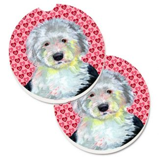 Old English Sheepdog Car Coasters - Hearts (Set of 2)