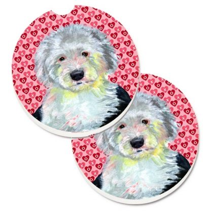 Old English Sheepdog Car Coasters - Hearts (Set of 2)