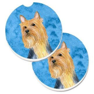 Silky Terrier Car Coasters - Bright Blue (Set of 2)