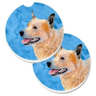 Australian Cattle Dog Car Coasters (Red) - Bright Blue (Set of 2)