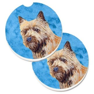 Cairn Terrier Car Coasters - Bright Blue (Set of 2)
