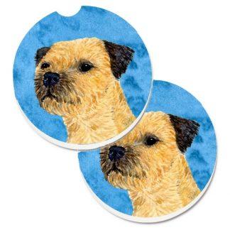 Border Terrier Car Coasters - Bright Blue (Set of 2)