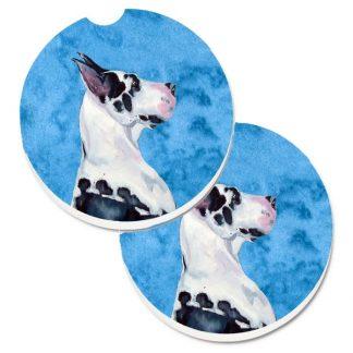 Great Dane Car Coasters (Harlequin) - Bright Blue (Set of 2)