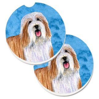 Bearded Collie Car Coasters (Brown) - Bright Blue (Set of 2)