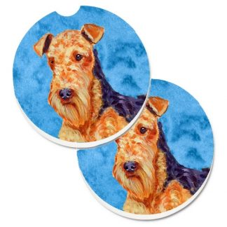 Airedale Terrier Car Coasters - Bright Blue (Set of 2)