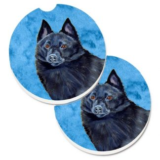 Schipperke Car Coasters - Bright Blue (Set of 2)