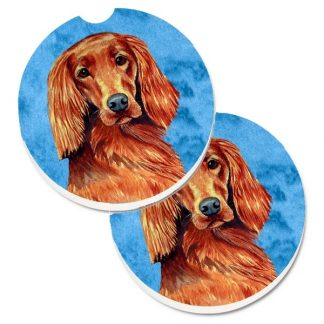 Irish Setter Car Coasters - Bright Blue (Set of 2)