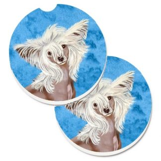 Chinese Crested Car Coasters - Bright Blue (Set of 2)