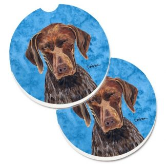 German Shorthair Pointer Car Coasters - Bright Blue (Set of 2)
